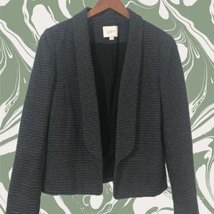 LOFT Gray Ponte Knit Mini Stripe Open Jacket